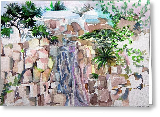 Brook Drawings Greeting Cards - Mountain Waterfall Greeting Card by Mindy Newman