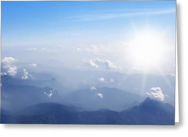 Air Greeting Cards - Mountain With Blue Sky And Clouds Greeting Card by Setsiri Silapasuwanchai