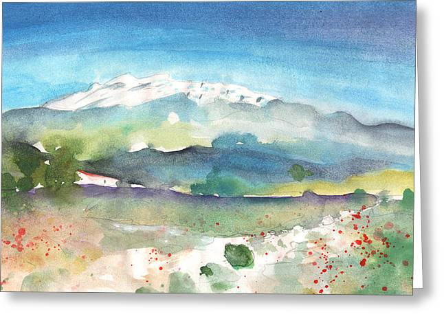 Mountains By Agia Galini Greeting Card by Miki De Goodaboom