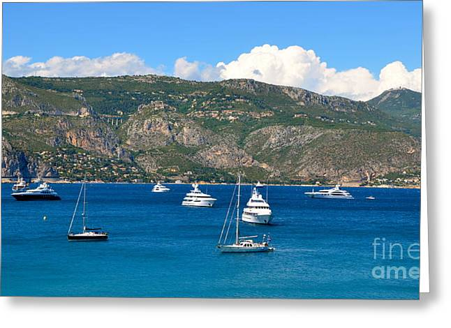 Villefranche Greeting Cards - Mountains by the Sea Greeting Card by Corinne Rhode
