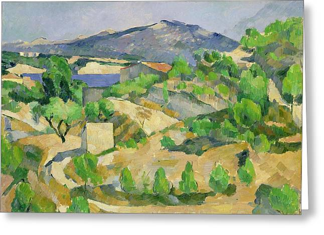 Green Hills Greeting Cards - Mountains in Provence Greeting Card by Paul Cezanne