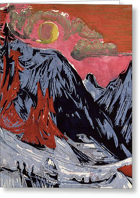 Snowy Night Paintings Greeting Cards - Mountains in Winter Greeting Card by Ernst Ludwig Kirchner