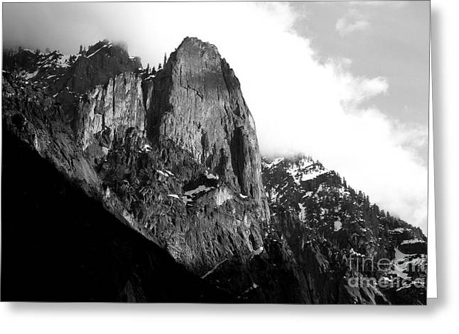 Bierstadt Greeting Cards - Mountains of Yosemite . 7D6167 . Black and White Greeting Card by Wingsdomain Art and Photography