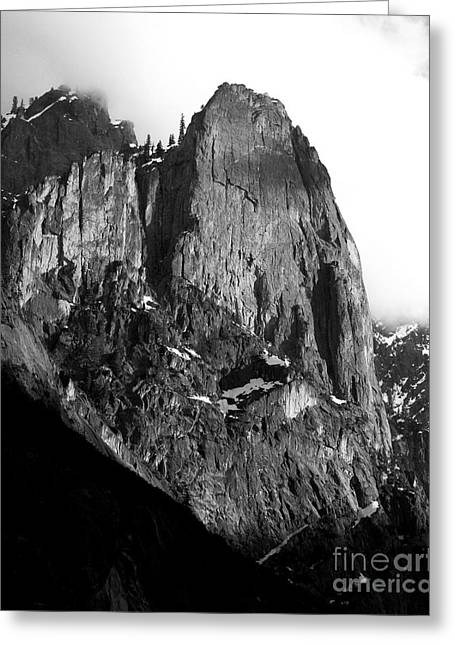Bierstadt Greeting Cards - Mountains of Yosemite . 7D6167 . Vertical Cut . Black and White Greeting Card by Wingsdomain Art and Photography