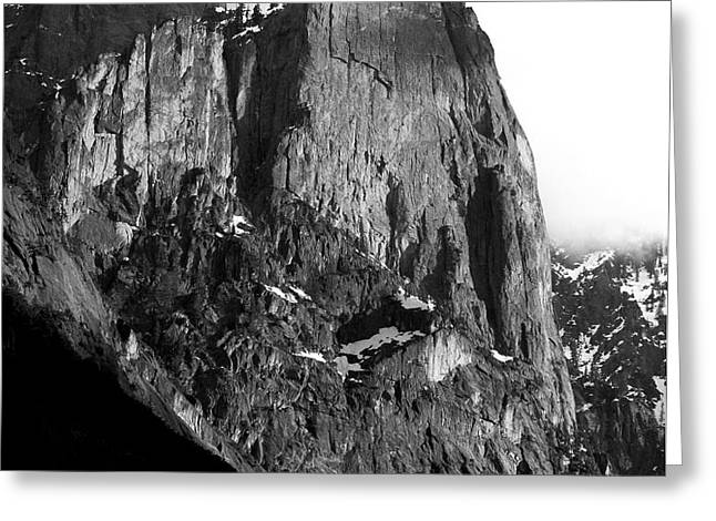 Mountains of Yosemite . 7D6167 . Vertical Cut . Black and White Greeting Card by Wingsdomain Art and Photography