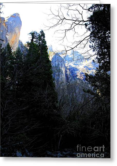 Bierstadt Greeting Cards - Mountains of Yosemite . 7D6214 Greeting Card by Wingsdomain Art and Photography