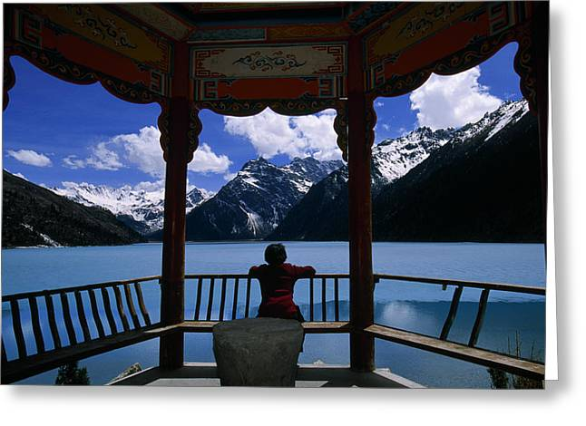 Sichuan Province Greeting Cards - Mountains Reflected In Holy Lake Greeting Card by David Edwards