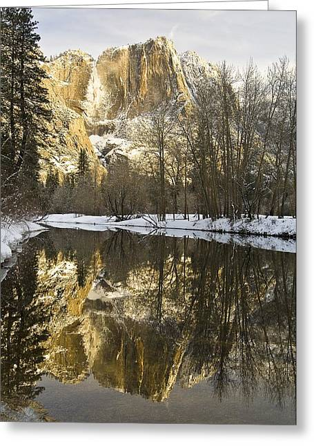 Mountains Reflecting In Merced River In Greeting Card by Robert Brown