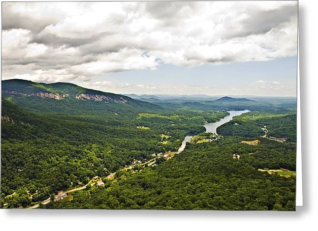 Mountains With Lake In The Valley Greeting Card by Susan Leggett