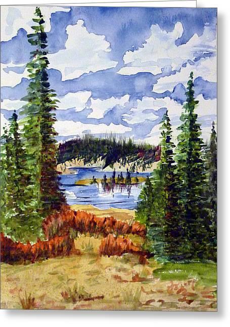 Mountian Lake Greeting Card by Linda Pope