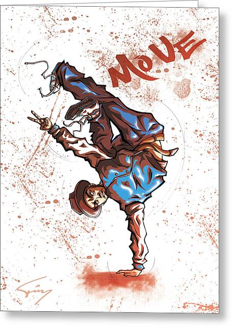 Hollaback Greeting Cards - MOVE B-Boy Greeting Card by Tuan HollaBack