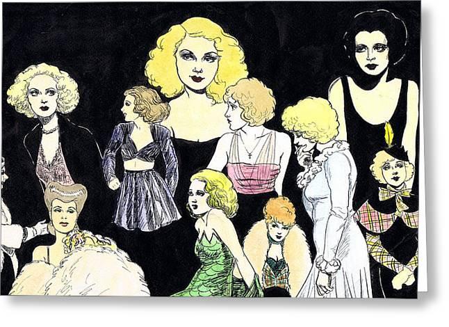 Movie Ladies Montage Greeting Card by Mel Thompson
