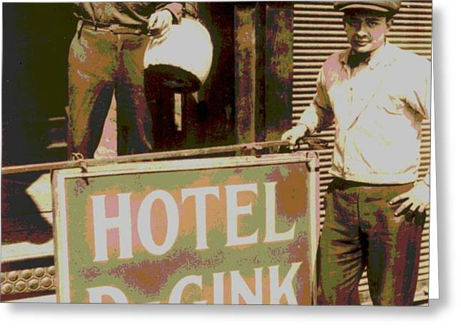 Moving Hotel DeGink Greeting Card by Padre Art