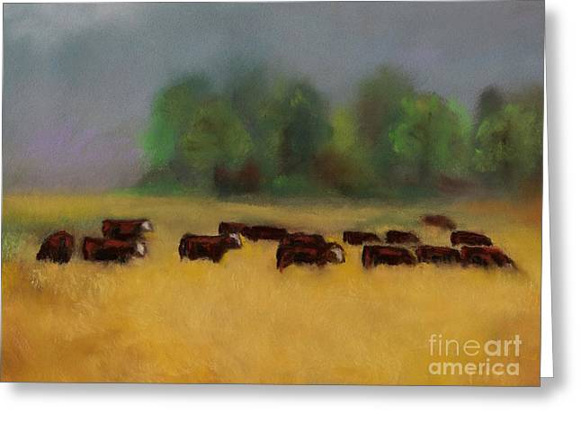 Cattle Pastels Greeting Cards - Moving on Greeting Card by Frances Marino