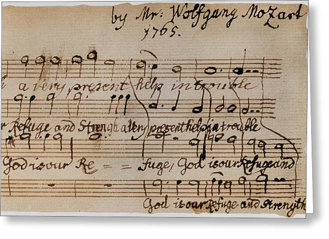 Autographed Greeting Cards - Mozart: Motet Manuscript Greeting Card by Granger