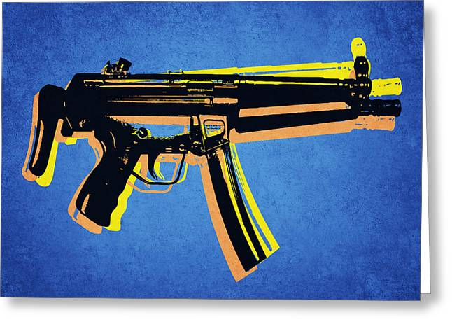 Arm Greeting Cards - MP5 Sub Machine Gun on Blue Greeting Card by Michael Tompsett