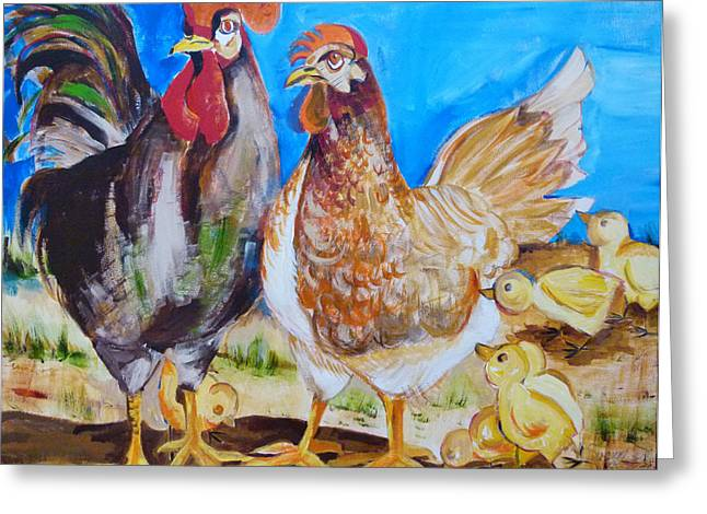 Suzanne Willis Greeting Cards - Mr. and Mrs. Chicken Greeting Card by Suzanne Willis