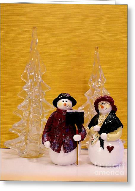 Golds Reds And Greens Greeting Cards - Mr and Mrs Snowman Greeting Card by Marsha Heiken