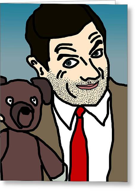 Toon Greeting Cards - Mr Bean and Teddy Greeting Card by Jera Sky