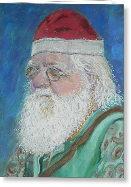 White Beard Pastels Greeting Cards - Mr. Claus Greeting Card by Gina Ward
