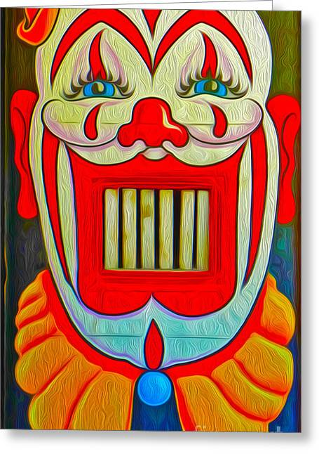 Mr. Clown Teeth Greeting Card by Gregory Dyer
