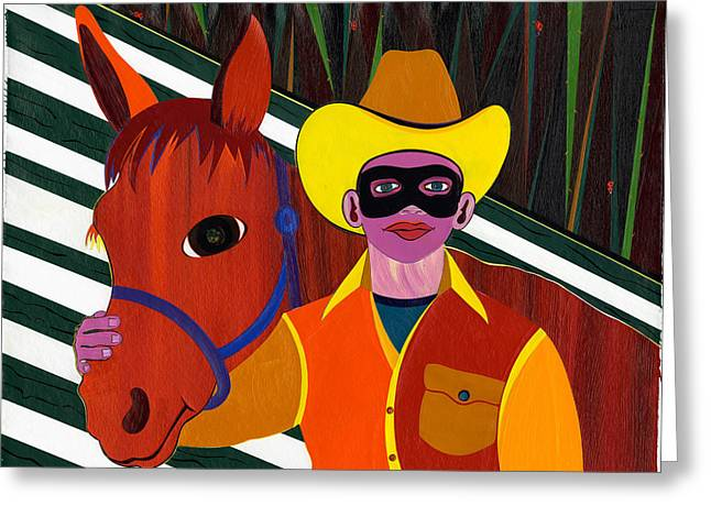 Lone Horse Paintings Greeting Cards - Mr. Ed and His Lone Ranger Greeting Card by Ruby Persson
