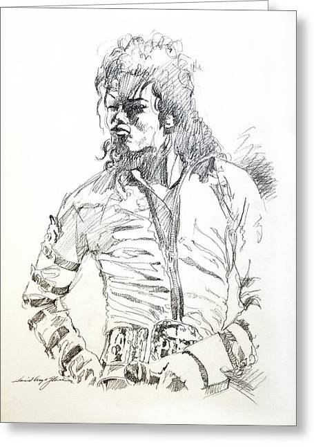 King Of Pop Drawings Greeting Cards - Mr. Jackson Greeting Card by David Lloyd Glover