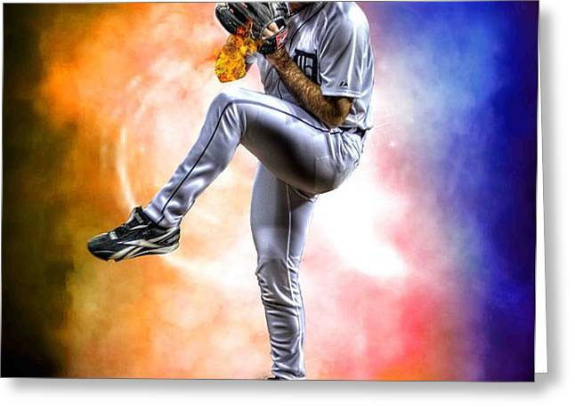 Mr. Justin Verlander Greeting Card by Nicholas  Grunas