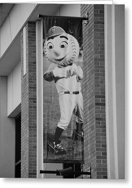 Shea Stadium Digital Greeting Cards - MR MET in BLACK AND WHITE Greeting Card by Rob Hans