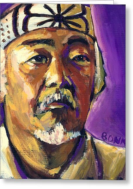 Karate Greeting Cards - Mr Miyagi Greeting Card by Buffalo Bonker