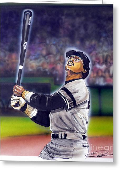 Yankees Drawings Greeting Cards - Mr. October Greeting Card by Dave Olsen