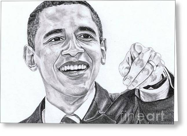 President Obama Greeting Cards - Mr. President Greeting Card by Kelly Tisdale