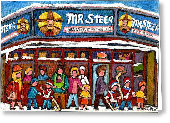 Cheeseburger Paintings Greeting Cards - Mr Steer Restaurant Montreal Greeting Card by Carole Spandau