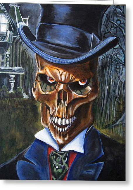 """haunted House"" Paintings Greeting Cards - Mr. Styx Greeting Card by Chris Benice"