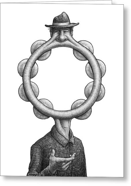 Drawings Greeting Cards - Mr. Tambourine Man Greeting Card by Shawn Feeney