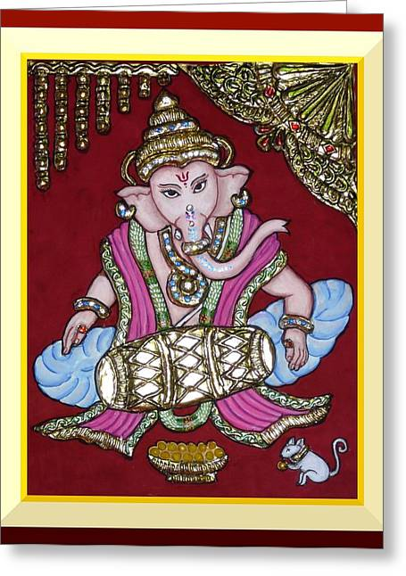 Tanjore Greeting Cards - Mridanga Ganesh ji Greeting Card by Vimala Jajoo