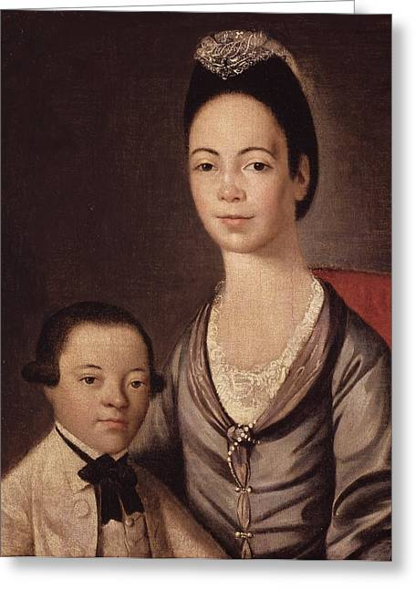 Mrs. Aaron Lopez And Her Son Joshua Greeting Card by  Gilbert Stuart