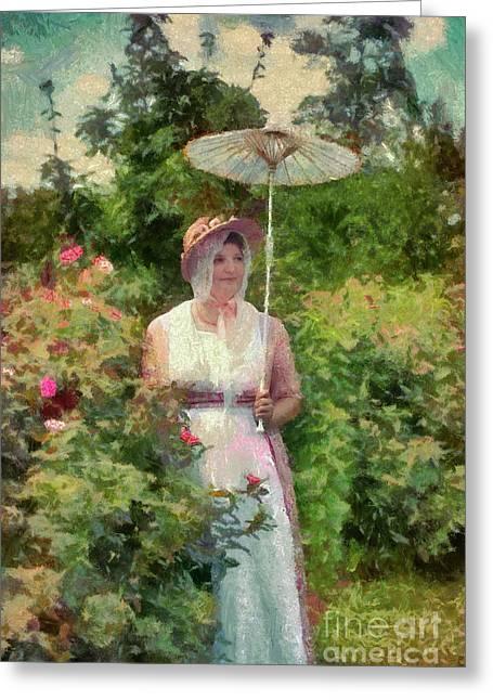 Re-enactor Greeting Cards - Mrs. Calvert in Her Rose Garden Greeting Card by Susan Isakson