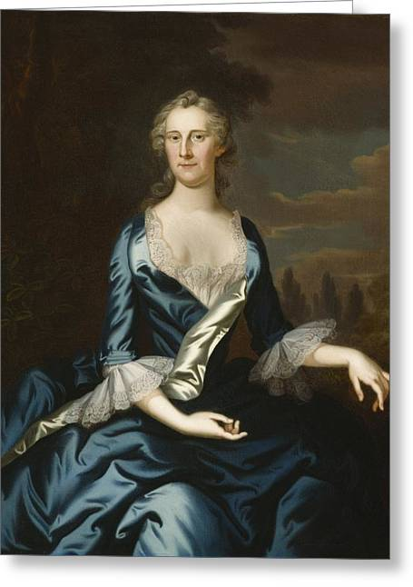 Annapolis Md Greeting Cards - Mrs. Charles Carroll of Annapolis Greeting Card by John Wollaston