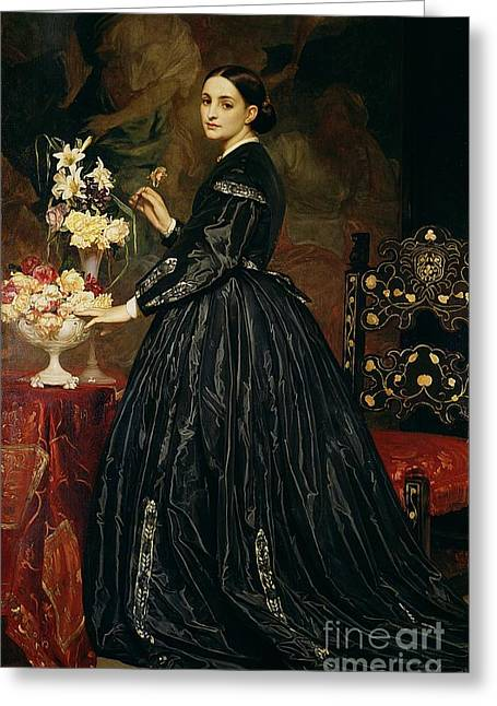 Wife Greeting Cards - Mrs James Guthrie Greeting Card by Frederic Leighton