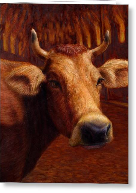 Animals Paintings Greeting Cards - Mrs. OLearys Cow Greeting Card by James W Johnson