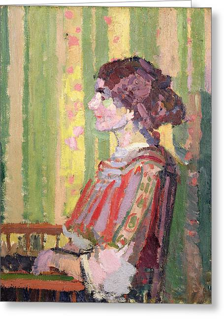 Oil Portrait Photographs Greeting Cards - Mrs Robert Bevan Greeting Card by Harold Gilman