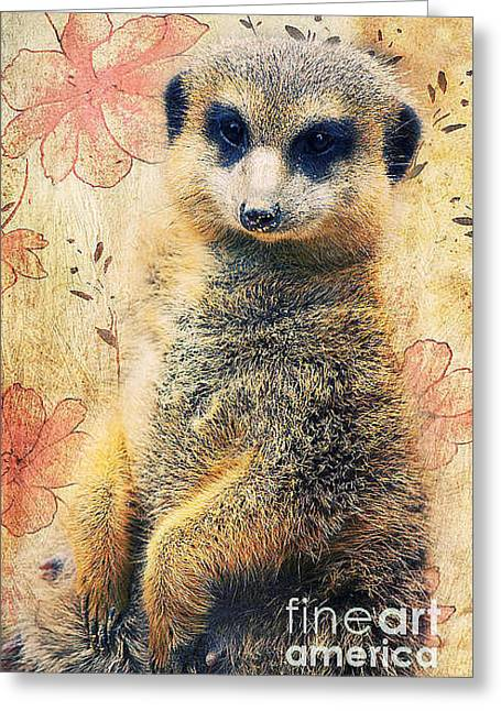 Cute Mixed Media Greeting Cards - Mrs Suricate Greeting Card by Angela Doelling AD DESIGN Photo and PhotoArt