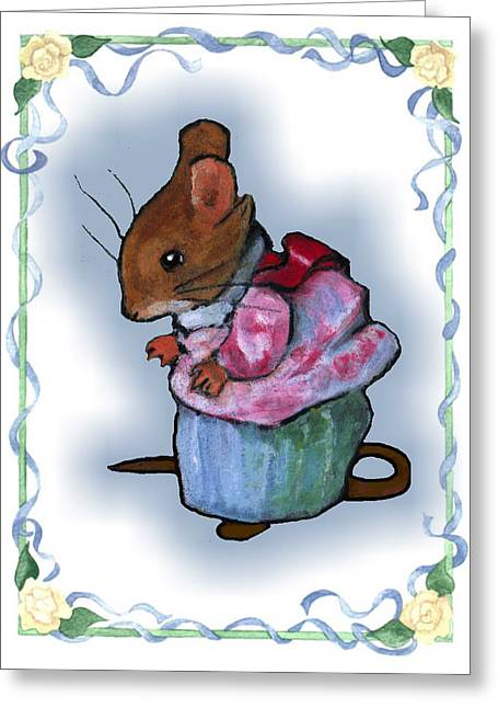 Mouse Pastels Greeting Cards - Mrs Tittlemouse After Beatrix Potter Greeting Card by Joyce Geleynse