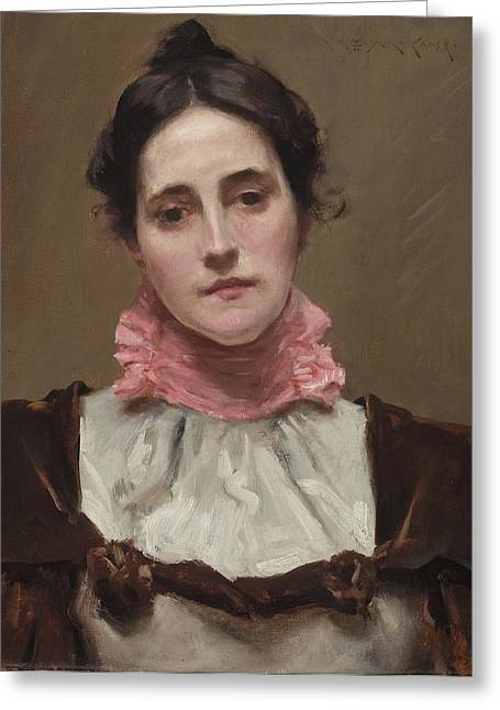 Mrs Greeting Cards - Mrs. William Merritt Chase Greeting Card by William Merritt Chase