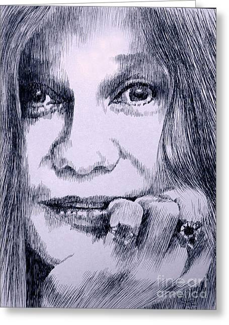 Robbi Musser Drawings Greeting Cards - Ms. Joplin Greeting Card by Robbi  Musser