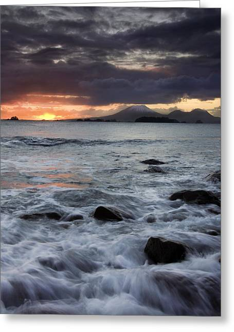 Sitka Greeting Cards - Mt. Edgecumbe Sunset Greeting Card by Mike  Dawson