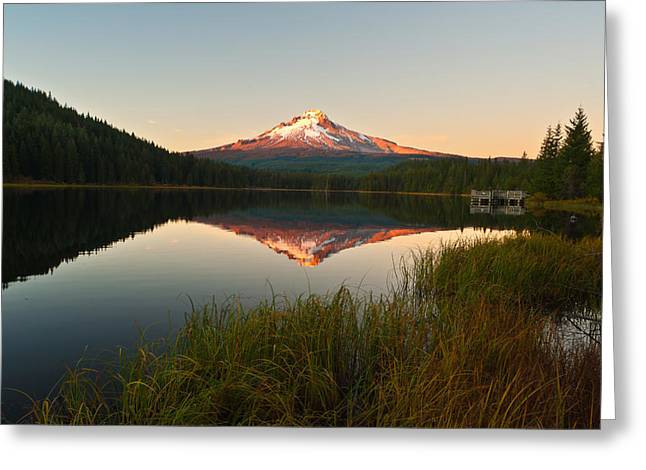 Mt Hood Greeting Cards - Mt Hood from Lake Trillium Greeting Card by Alvin Kroon