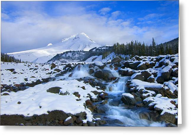 Mt Photographs Greeting Cards - Mt. Hood Morning Greeting Card by Mike  Dawson