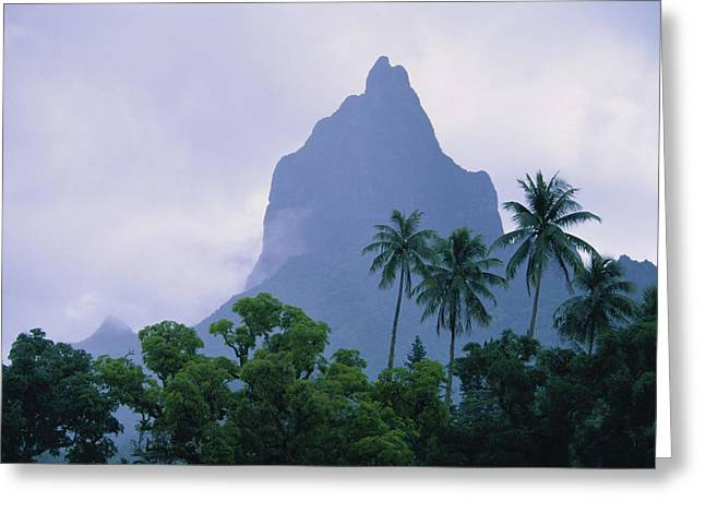 Overcast Day Greeting Cards - Mt. Opunohu Greeting Card by Ron Dahlquist - Printscapes